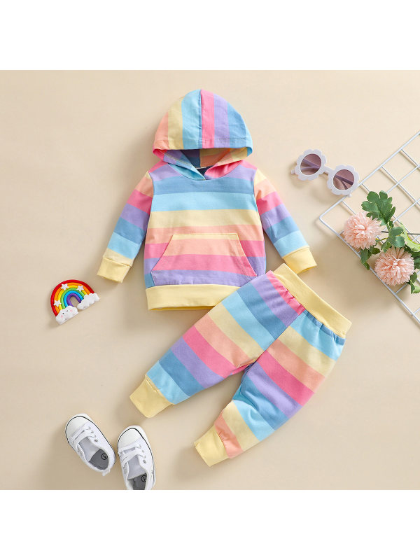 【3M-24M】Girls Rainbow Striped Hoodie With Trousers Two-piece Suit
