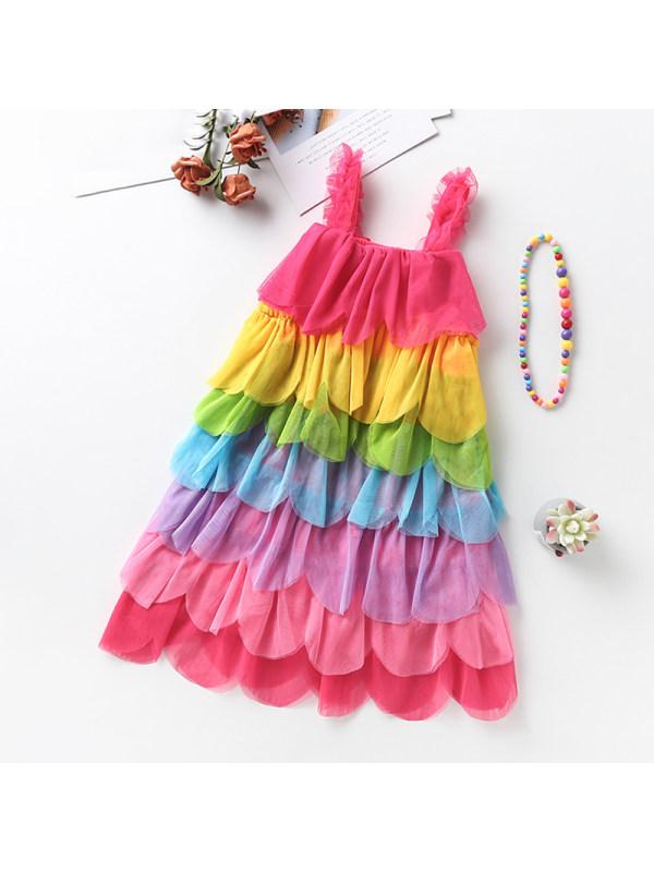 【3Y-11Y】Girls Round Neck Sleeveless Sling Rainbow Mesh Dress