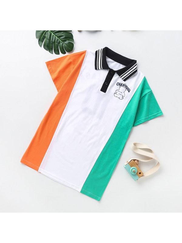 【3Y-13Y】Girls Lapel Short Sleeve Colorblock Polo Dress