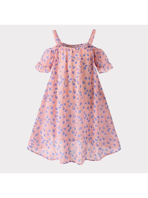 【18M-7Y】Girls Floral Strapless Sling Dress