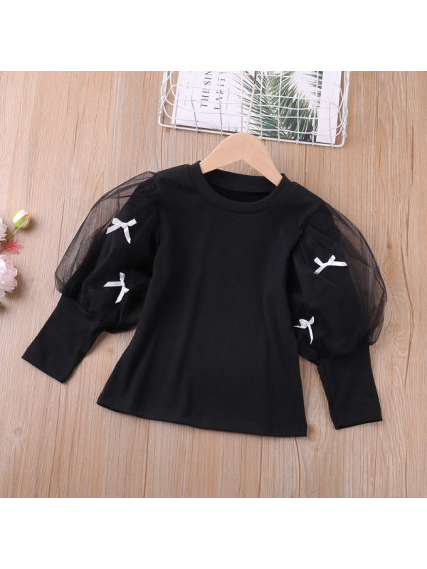 【18M-7Y】Girls Sweet Style Solid Color Mesh Decoration T-shirt