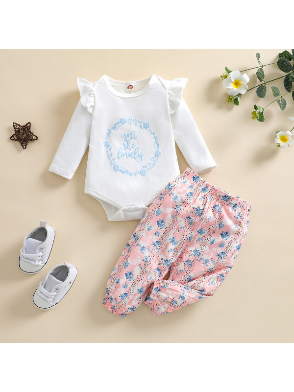 【3M-24M】Girl Flower Printed Two-piece Suit