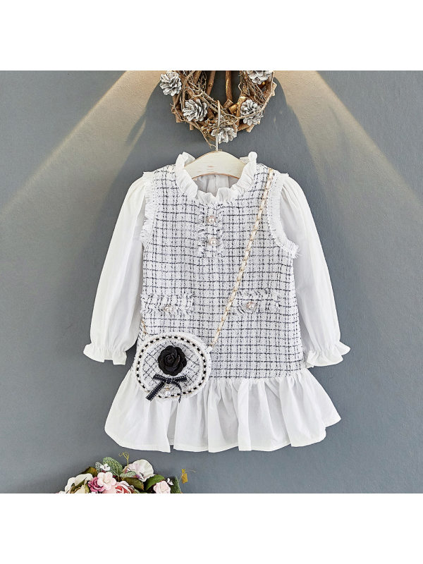 【18M-7Y】Girls Stitching Long-sleeved Dress Without Bag