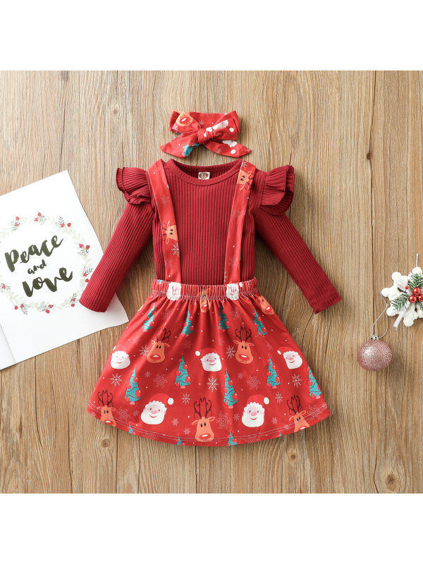 【12M-5Y】Girls Christmas Print Long-sleeved Blouse Suspender Skirt With Bow Tie