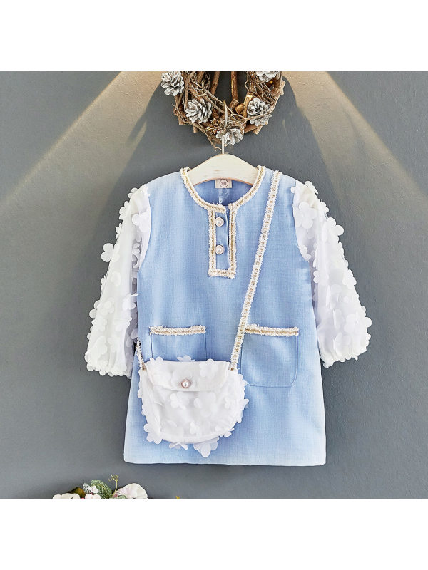 【18M-7Y】Girls Long-sleeved Stitching Dress With Bag