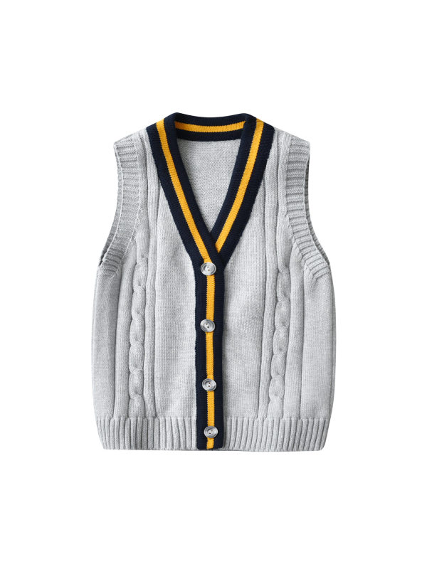 【18M-7Y】Boy Preppy Style V-neck Sweater Vest
