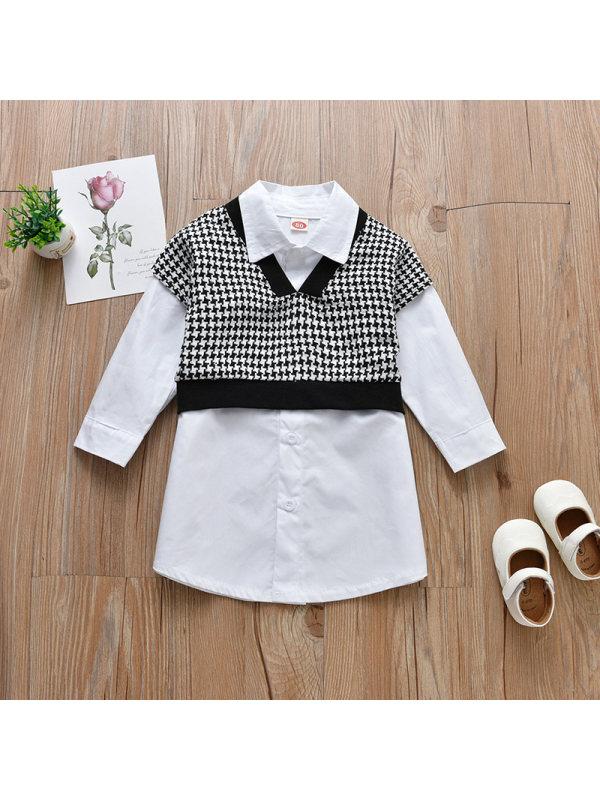 【18M-7Y】Girls Long Sleeve Shirts Dress And Vest Set