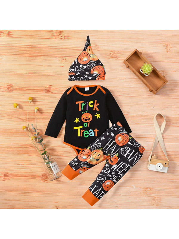 【3M-18M】Baby Boy 3-piece Letter Pumpikin Long Sleeve Romper And Pants Set With Hat