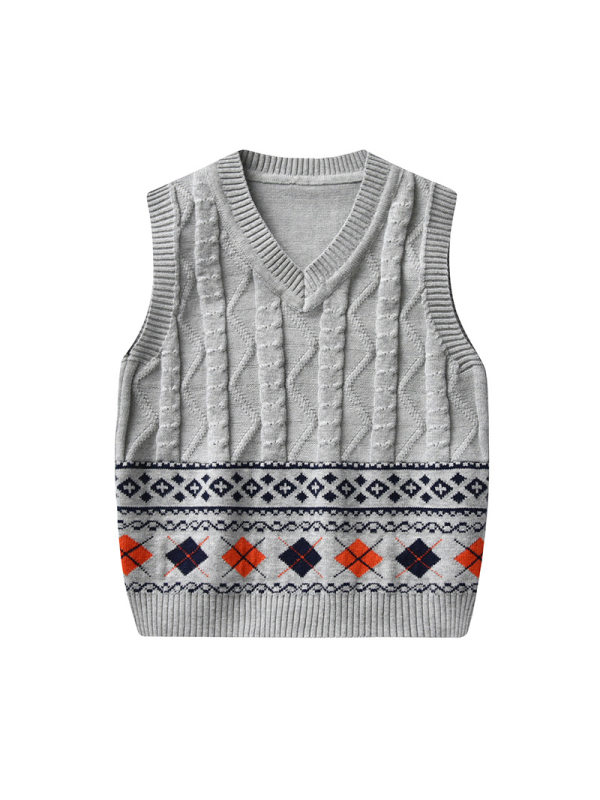 【18M-7Y】Boy Preppy Style Argyle Pattern Sweater Vest