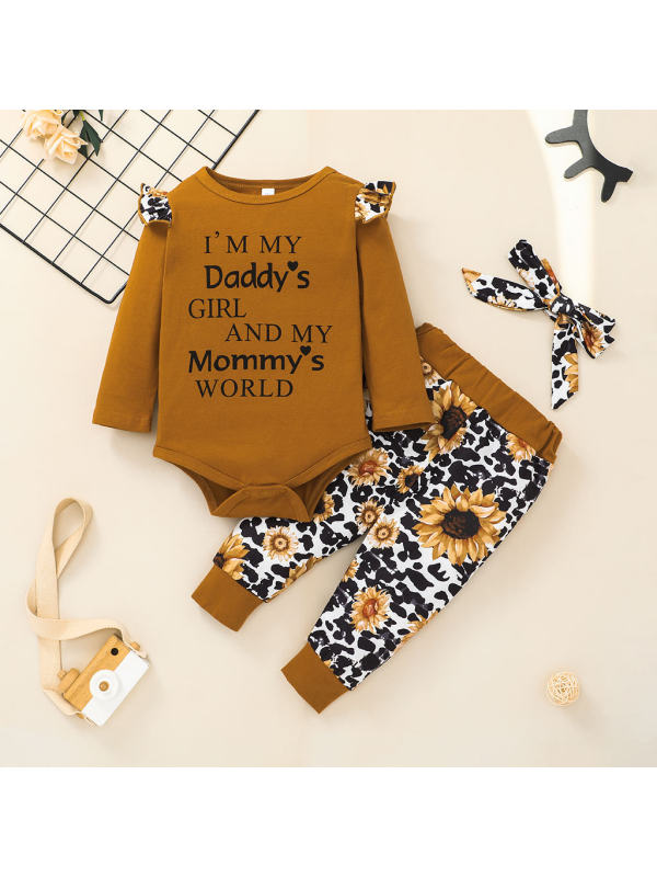 【0M-12M】Girl Fashion Flower Print Long Sleeve Romper and Pants Set