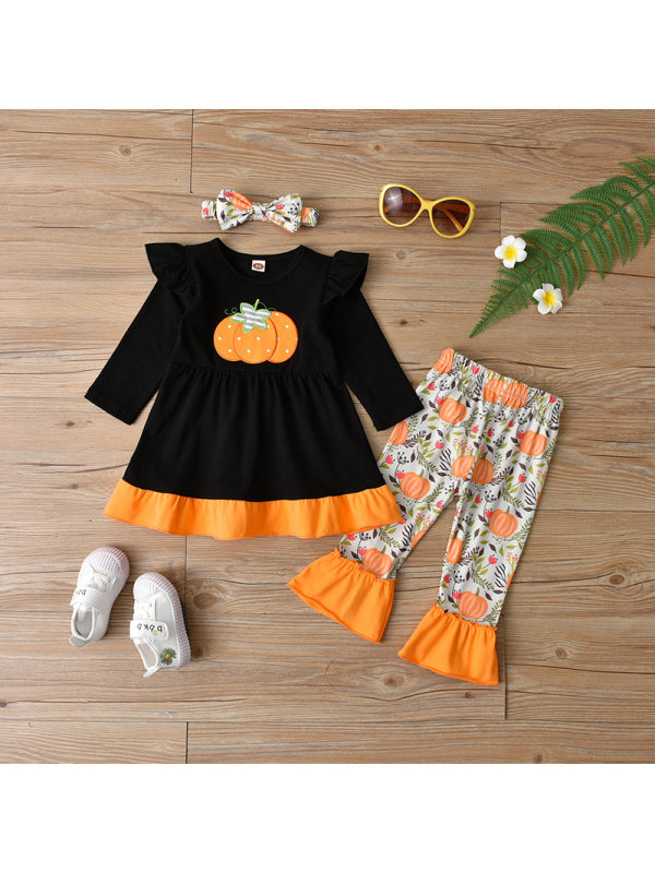 【18M-6Y】Girls 3-piece Letter Halloween Pumpkin Long Sleeve Top And Pants Set