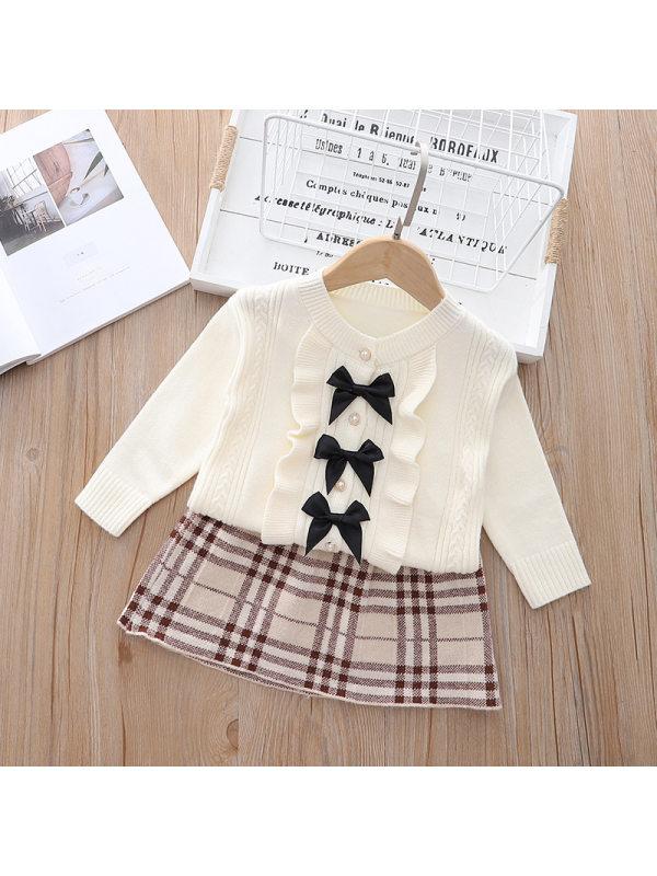 【18M-7Y】Girls Bowknot Cardigan Plaid Skirt Suit