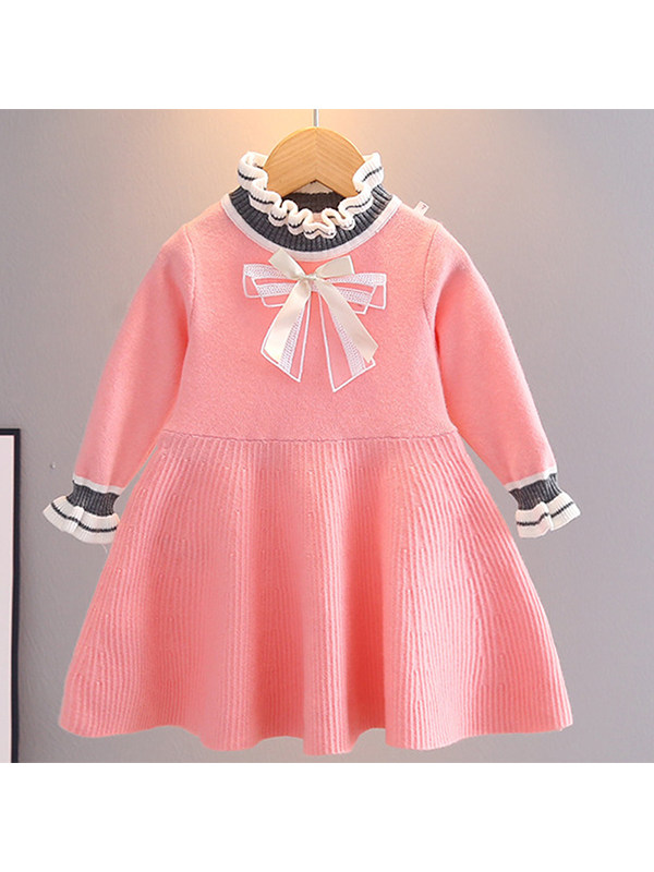 【18M-7Y】Girls Solid Color Bow Woolen Dress