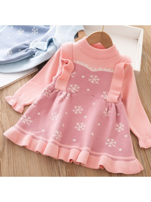 【12M-5Y】Girls Sweet Snow Print Woolen Dress