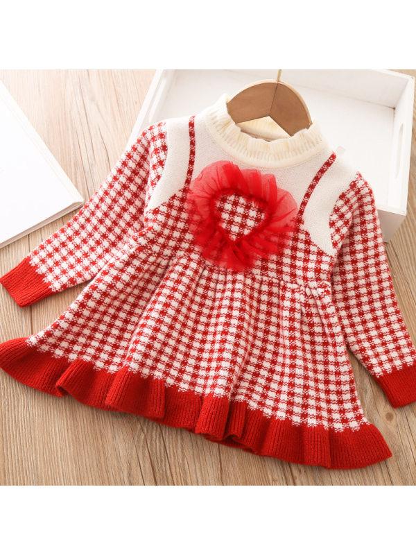 【12M-5Y】Girls Sweet Fairy Check Woolen Dress