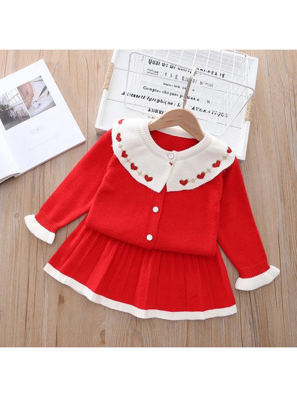 【18M-7Y】Girls Sweet Doll Collar Cardigan Pleated Skirt Set