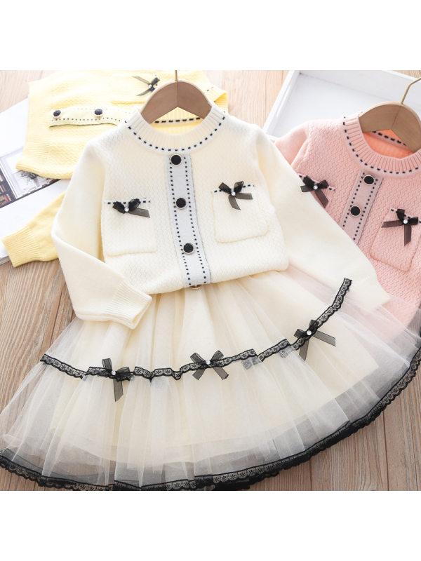 【12M-5Y】Girl Sweater Cardigan Plus Net Yarn Tutu Skirt Two-piece Set