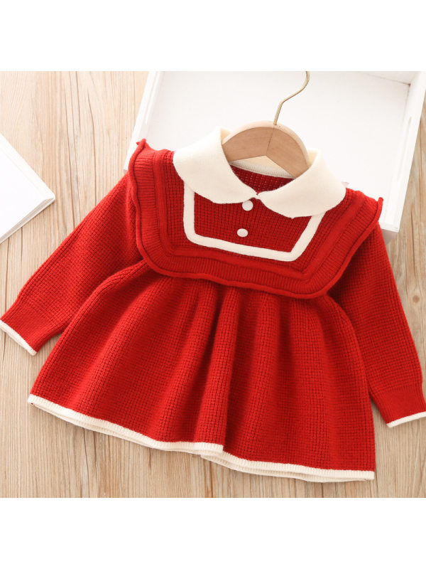 【12M-5Y】Girls Knitted Doll Collar Long-sleeved Sweater Dress