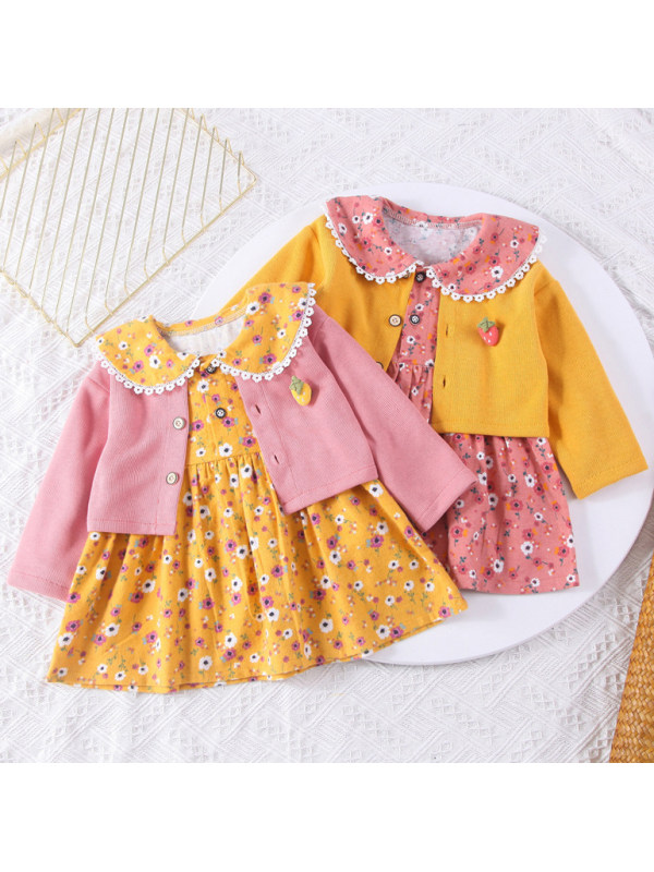 【12M-5Y】Girls Cute Floral Dress And Pure Color Cardigan Set