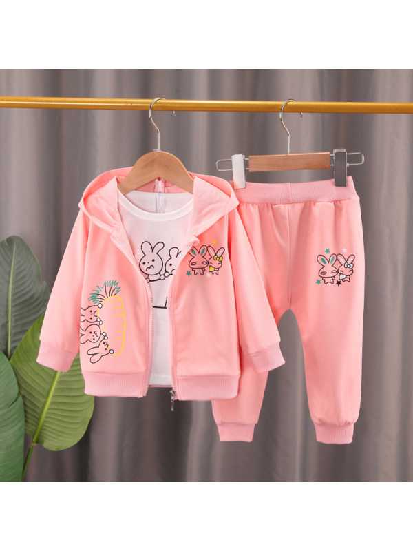 【12M-5Y】Girl Cartoon Print Hooded Jackets and Pants 3-piece Suit