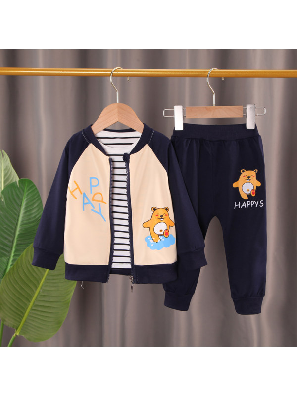 【12M-5Y】Boys 3 Piece Cartoon Print Contrast Stitching Jacket and Pants and T-shirt