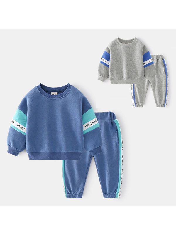 【18M-7Y】Boys Contrast Color Stitching Letter Printing Long-sleeved Two-piece Suit