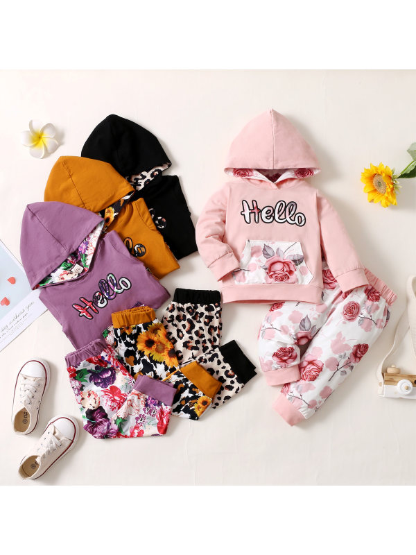 【0M-18M】Baby Girl Letter Embroidered Hooded Top With Floral Trousers Set