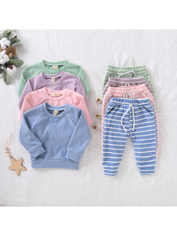 【0M-12M】Baby Comfortable Cotton Long-sleeved Pullover Trouser Suit