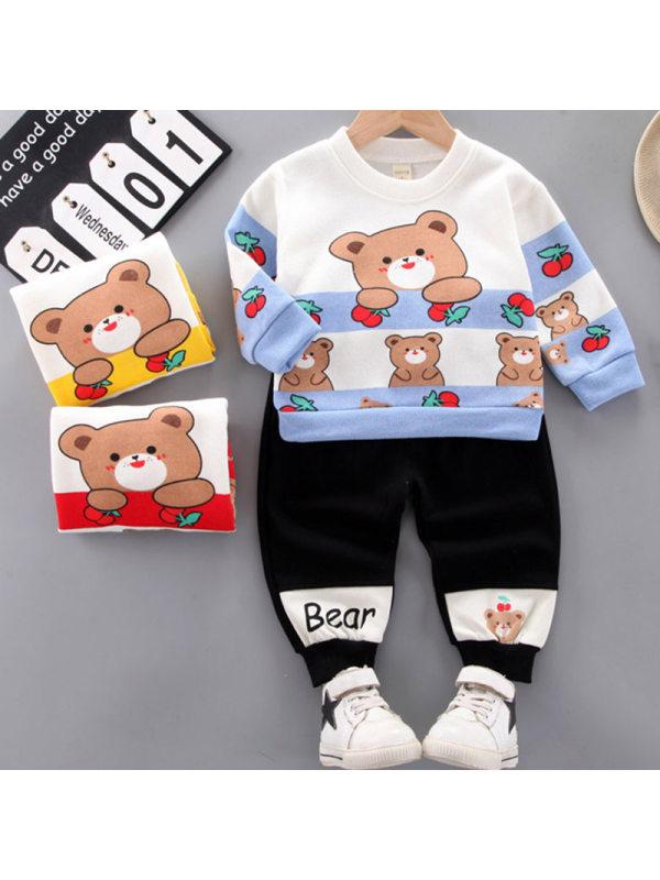 【12M-4Y】Boys Fashion Bear Pattern Sweatshirt Pants Set
