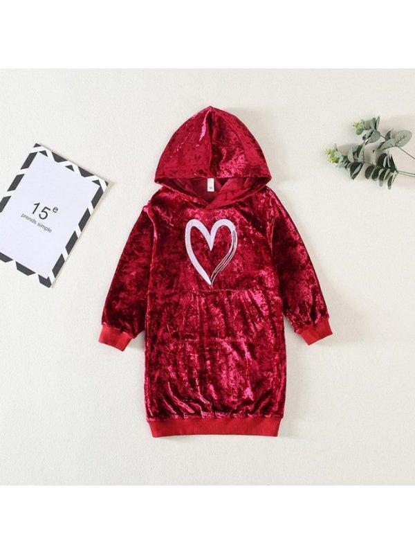 【18M-7Y】Girls Velvet Letter Prints Long Sleeve Sweatshirt Dress