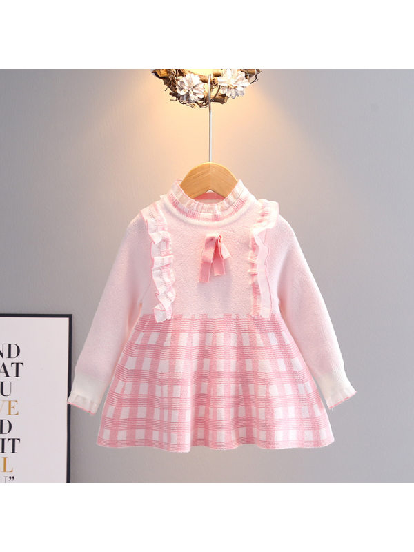 【18M-7Y】 Girls Plaid Sweet Knitted Pullover Woolen Dress