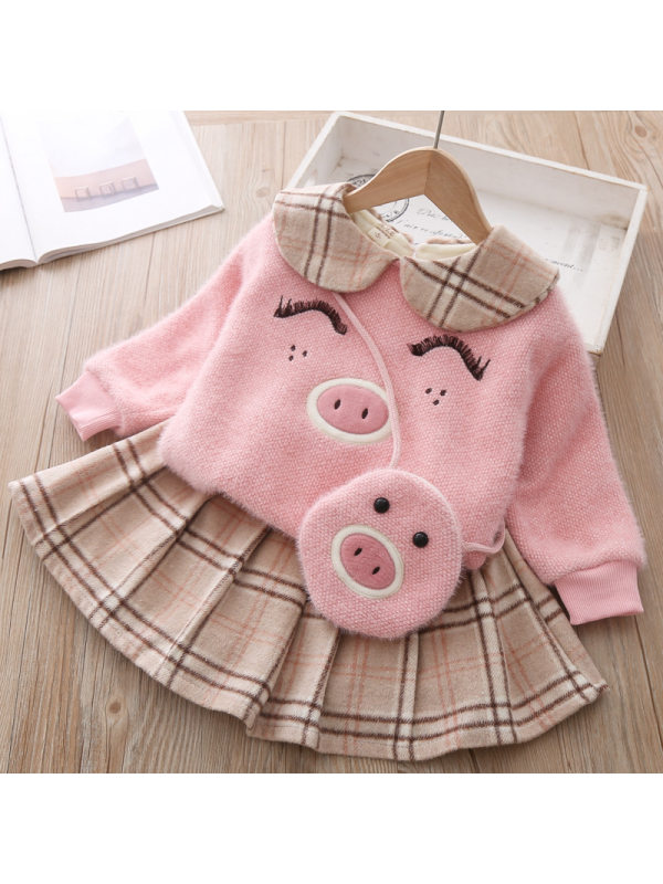 【12M-5Y】Girl Sweet Thickened Sweatshirt Plaid Skirt Suit With Bag
