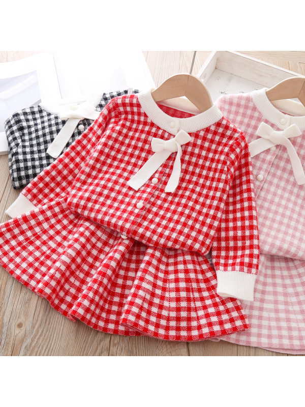 【18M-7Y】Girl Sweet Plaid Cardigan Skirt Set