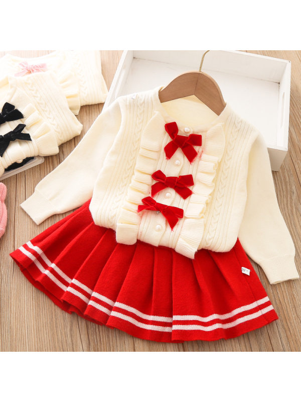 【12M-5Y】Girl Sweet Bow Sweater Skirt Set