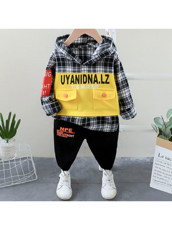 【12M-5Y】Boys Fashion Plaid Letter Hooded Sweatshirt Pants Set