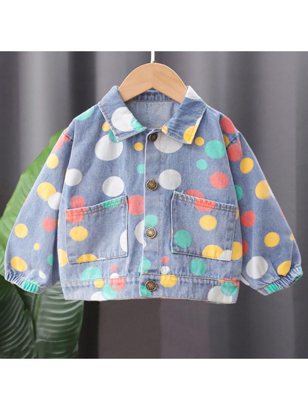 【12M-5Y】Color Polka Dot Denim Jacket