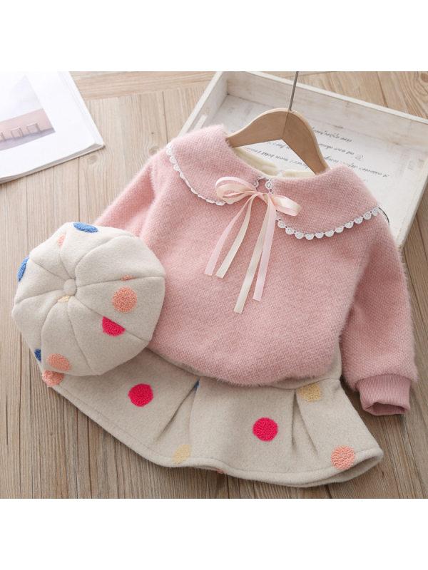 【12M-5Y】Girl Sweet Thicken Sweatshirt Polka Dot Skirt Set With Hat