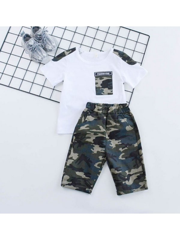 【18M-9Y】Boys Stitching Camo Short Sleeve T-shirt And Shorts Set