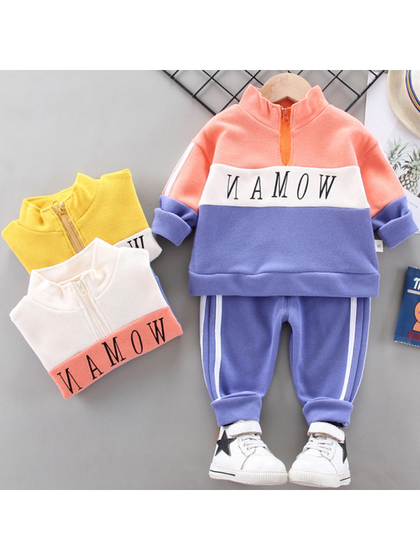 【12M-4Y】Boys Fashion Letter Pattern Sweatshirt Pants Set
