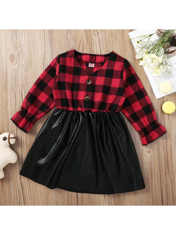 【18M-7Y】Girl Red Plaid Black Pu Splicing Dress