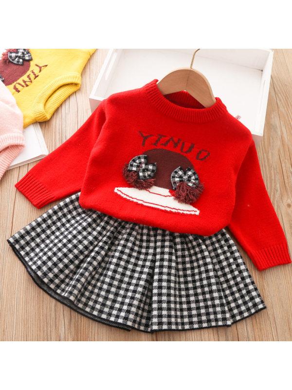 【12M-5Y】Girl Sweet Cartoon Pattern Sweater Short Skirt Set