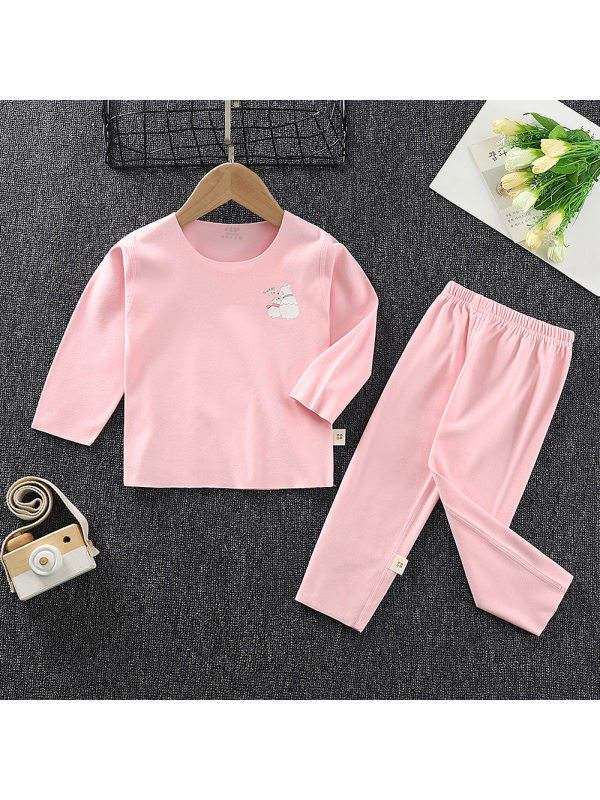【6M-13Y】Kid Round Neck Long Sleeve Cartoon Printed Top With Long Pants Home Set