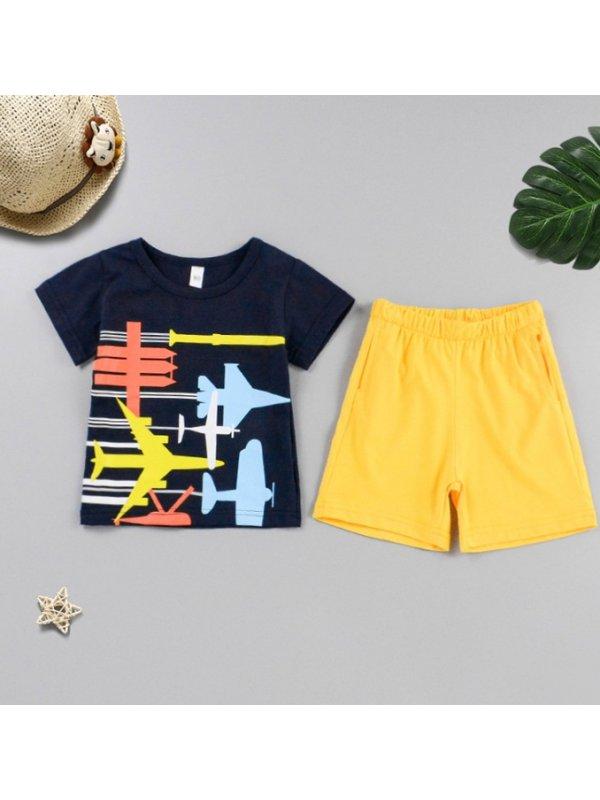 【18M-7Y】Boys Fashion Cartoon Print Round Neck Short Sleeve T-shirt And Shorts Set