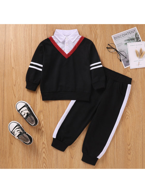 【18M-5Y】Boys Lapel Stitching Solid Color Sweatshirt And Trousers Suit