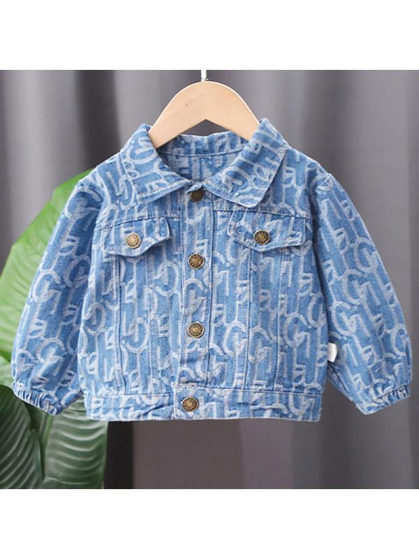 【12M-5Y】Boy Fashion Letter Pattern Denim Jacket