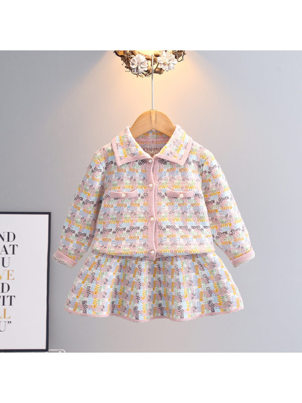 【2Y-9Y】Girl Lapel Small Fragrant Sweater Skirt Suit