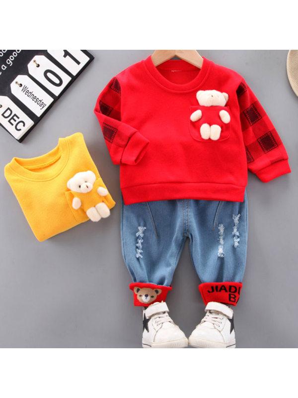 【12M-4Y】Boys Fashion Bear Decorated Sweatshirt Pants Set