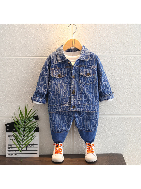 【12M-5Y】Boys Letter Print Long Sleeve Two-piece Suit