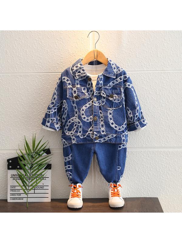 【12M-5Y】Boys Chain Print Trendy Denim Two-piece Suit