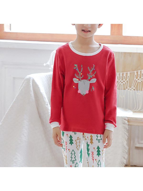 【2Y-13Y】Boys Christmas Print Long Sleeve Two-piece Suit